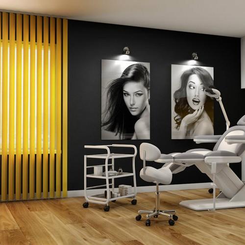 Taboret FEMME, Fotel kosmetyczny VITRA, Poczekalnia WERSAL, Lampa lupa DELUX LED, Pomocnik kosmetyczny ELENA