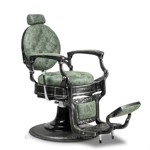 Fotel fryzjerski BARBER BAROK ciemna zieleń